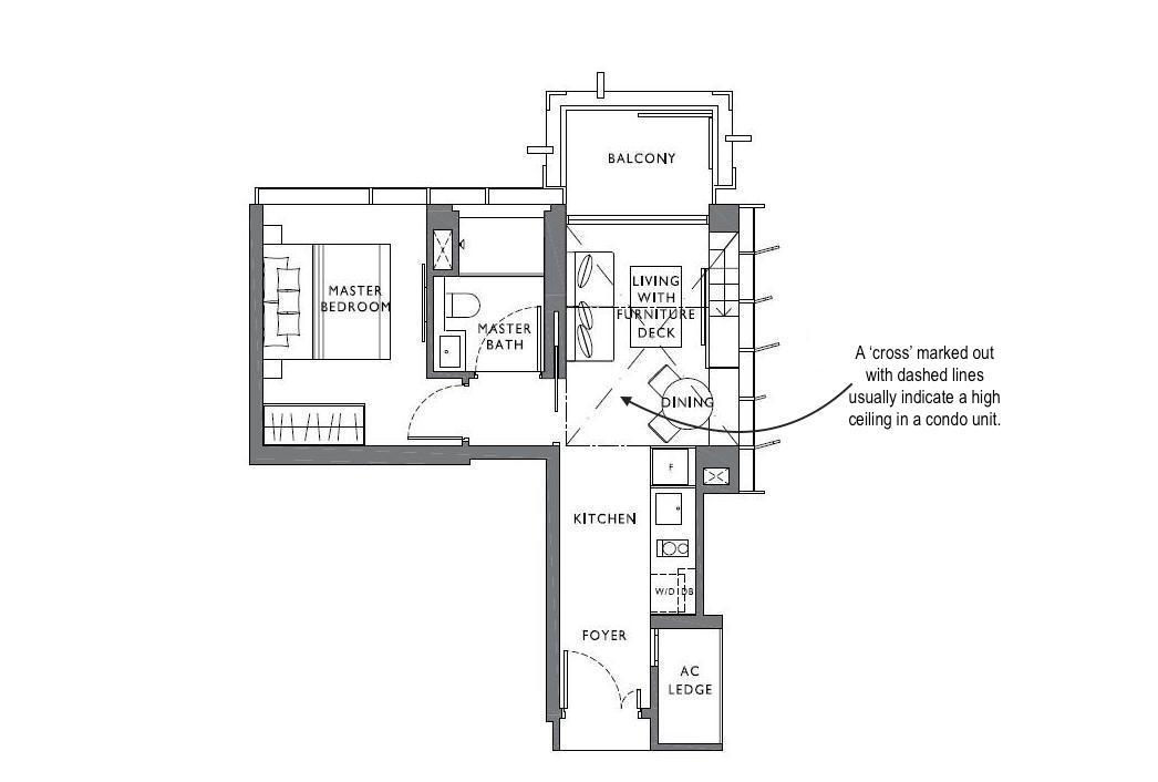 high ceiling condo floor plan